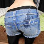デニム・ズボン・スーツの着衣尻にザーメンぶっかけ汚す尻射エロ画像