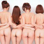 複数の女性が横に並んで集団でお尻誘惑してるケツハーレムエロ画像